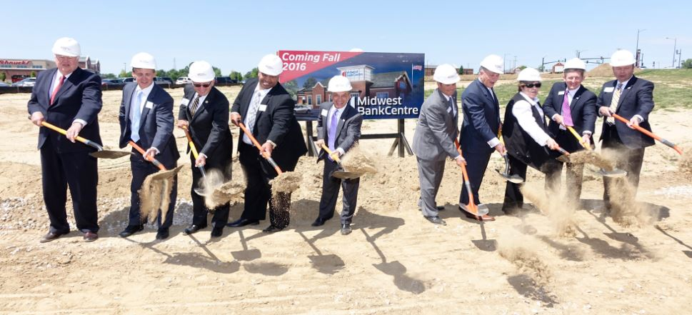 Midwest BankCentre officers break ground with community partners on June 8 for its new branch at 1820 First Capitol Drive in the city of St. Charles, Mo. Raising shovels of dirt were (from left) St. Charles County Executive Steve Ehlmann; Executive Vice President Tim Reeves; Lindenwood University System President Michael Shonrock, Ph.D.; Senior Vice President Tony Edmonds; Regional President Fred Dyer; President-St. Charles Commercial Bill Kral; Midwest BankCentre Board Member Jerry Scheidegger, chairman of the board of The Corporate Group; St. Charles Mayor Sally Faith; Regional President Danny Pogue; and Chairman and CEO Jim Watson. Photo by Michael Schlueter